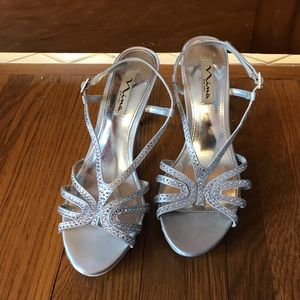 Silver strappy high heels; size 7 1/2 (US)